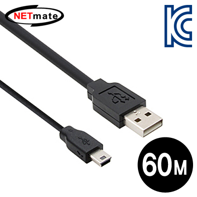 NETmate USB2.0 AM-Mini 5P 리피터 60m [FV97]-아이씨뱅큐