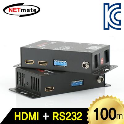 NETmate HDMI-ENW HDMI+RS232 1:1 리피터(로컬 + 리모트)(Ethernet Base 100m) [FX82]-아이씨뱅큐