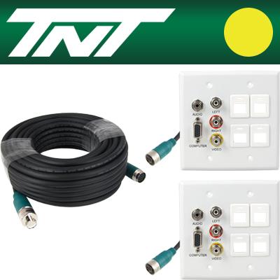 TNT RGB+스테레오 or 3RCA + 4모듈 월 플레이트 분리형(배관용) 케이블 40m [BC18]-아이씨뱅큐