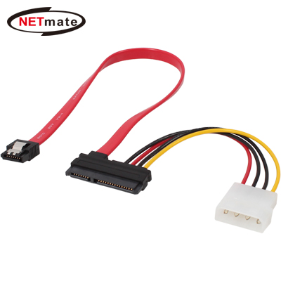 NETmate SATA3 22Pin 데이터/파워 Flat 케이블(Lock) 0.3m [FX35]