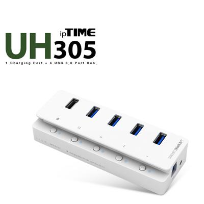 ipTIME(아이피타임) UH305 USB3.0 5포트 유전원 충전 허브(전원 아답터 포함) [AA44]-아이씨뱅큐
