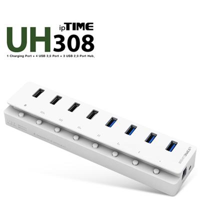 ipTIME(아이피타임) UH308 USB3.0 8포트 유전원 충전 허브(전원 아답터 포함) [A161 A162]